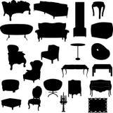 Siluetas de los muebles Fotos de archivo libres de regalías