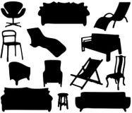 Siluetas de los muebles del hogar Fotografía de archivo