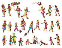 Siluetas de los niños ilustración del vector