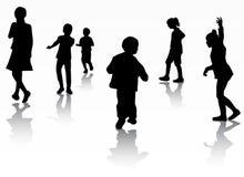 Siluetas de los niños Imagen de archivo libre de regalías