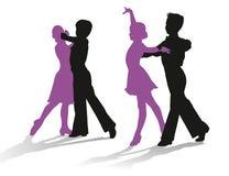 Siluetas de los niños que bailan danza de salón de baile Fotos de archivo
