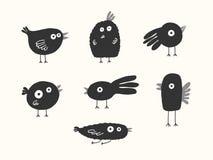 Siluetas de los pájaros fijadas Imagen de archivo