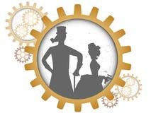 Siluetas de los pares del steampunk dentro del engranaje de la sombra Imágenes de archivo libres de regalías