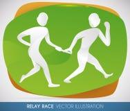 Siluetas de los participantes de la raza de retransmisión para el acontecimiento deportivo, ejemplo del vector libre illustration