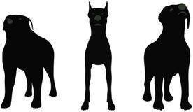 Siluetas de los perros ilustración del vector