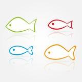 Siluetas de los pescados del vector Imagen de archivo libre de regalías
