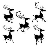 Siluetas de los renos de la Navidad Actitudes de los ciervos de Papá Noel Fotografía de archivo