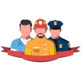 Siluetas de los salvavidas paramédico, bombero y policía Fotografía de archivo libre de regalías