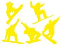 Siluetas de los Snowboarders Imagen de archivo