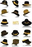 Siluetas de los sombreros Imagen de archivo libre de regalías