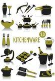 Siluetas de los utensilios de cocina Foto de archivo