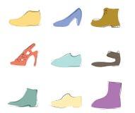 Siluetas de los zapatos artísticas Fotos de archivo