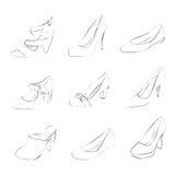 Siluetas de los zapatos de las mujeres Imagen de archivo