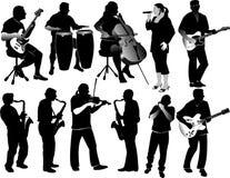 Siluetas de músicos stock de ilustración