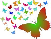 Siluetas de mariposas Imágenes de archivo libres de regalías