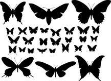 Siluetas de mariposas Foto de archivo