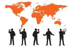 Siluetas de muchos hombres de negocios stock de ilustración