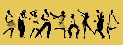 Siluetas de nueve personas que bailan Charleston imágenes de archivo libres de regalías