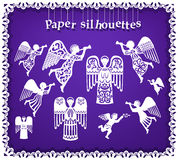 Siluetas de papel de ángeles Imagen de archivo