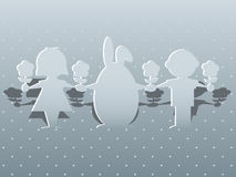 Conejito y niños de pascua Imagen de archivo