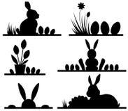 Siluetas de Pascua con banny lindo y los huevos ilustración del vector