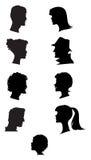 Siluetas de perfiles Fotografía de archivo libre de regalías