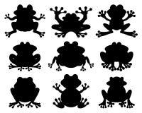 Siluetas de ranas stock de ilustración