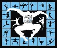 Siluetas de salto de baile de la gente Imagenes de archivo