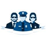 Siluetas del agente del policía, de la mujer policía y del detective Imágenes de archivo libres de regalías