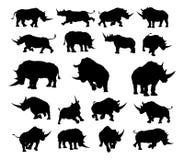 Siluetas del animal del rinoceronte Imagenes de archivo