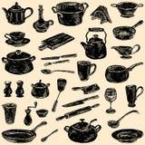 Siluetas del artículos de cocina Imagen de archivo
