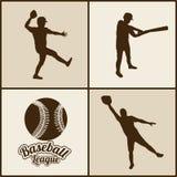 Siluetas del béisbol Fotografía de archivo