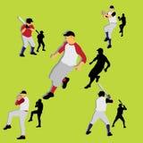 Siluetas del béisbol Stock de ilustración