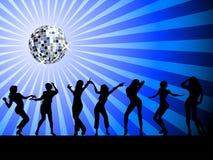 Siluetas del baile de la gente en la sala de baile Fotos de archivo