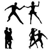 Siluetas del baile de la mujer del hombre Imagen de archivo