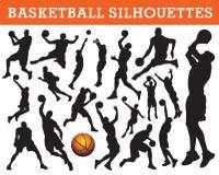 Siluetas del baloncesto Imágenes de archivo libres de regalías