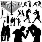 Siluetas del boxeo Fotos de archivo libres de regalías