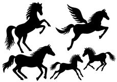 Siluetas del caballo, vector Fotografía de archivo