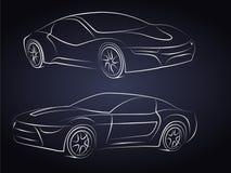 Siluetas del coche deportivo en frente ilustración del vector