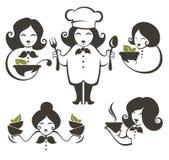 Siluetas del cocinero de la mujer de la comida y de la historieta, colección del vector emble ilustración del vector