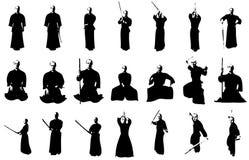 Siluetas del combatiente de Kendo Fotos de archivo
