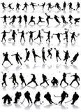 Siluetas del deporte Foto de archivo
