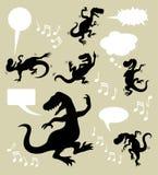 Siluetas del dinosaurio del baile Fotos de archivo