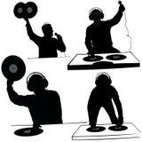 Siluetas del disc jockey Imágenes de archivo libres de regalías
