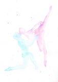 Siluetas del ejemplo de la acuarela de besarse de los bailarines de ballet Foto de archivo