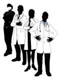 Siluetas del equipo médico Foto de archivo libre de regalías