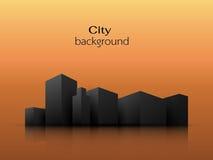 Siluetas del fondo de la naranja de los edificios de la ciudad libre illustration