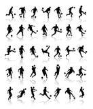 Siluetas del futbolista Stock de ilustración