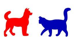 Siluetas del gato y del perro Foto de archivo libre de regalías