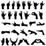 Siluetas del gesto de la muestra de la mano Foto de archivo libre de regalías